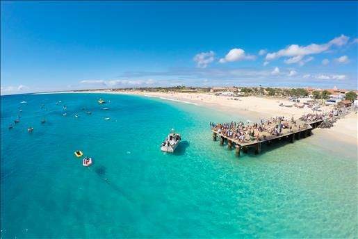 Aerial view of Santa Maria beach in Sal Cape Verde