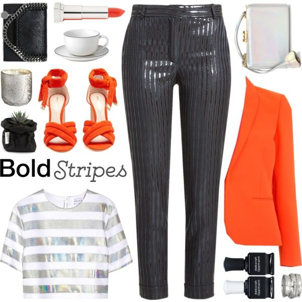 strong stripes: graphic striped pants by jesuisunlapin on Polyvore featuring moda, Jonathan Saunders, Barbara Bui, Carven, Nicholas Kirkwood, Mark Cross, STELLA McCARTNEY, MeditationRings, Maybelline and Deborah Lippmann