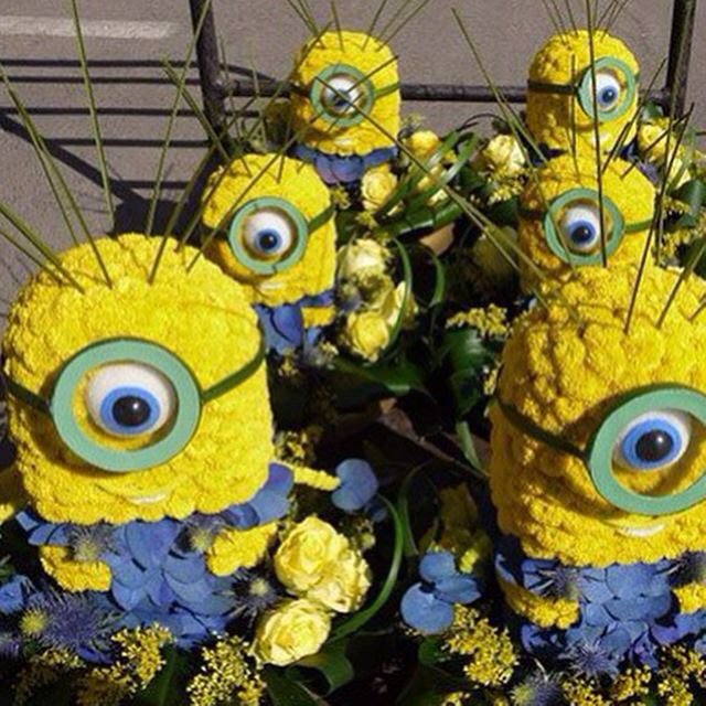 minions centerpieces made of flowers  minions  flowers  party