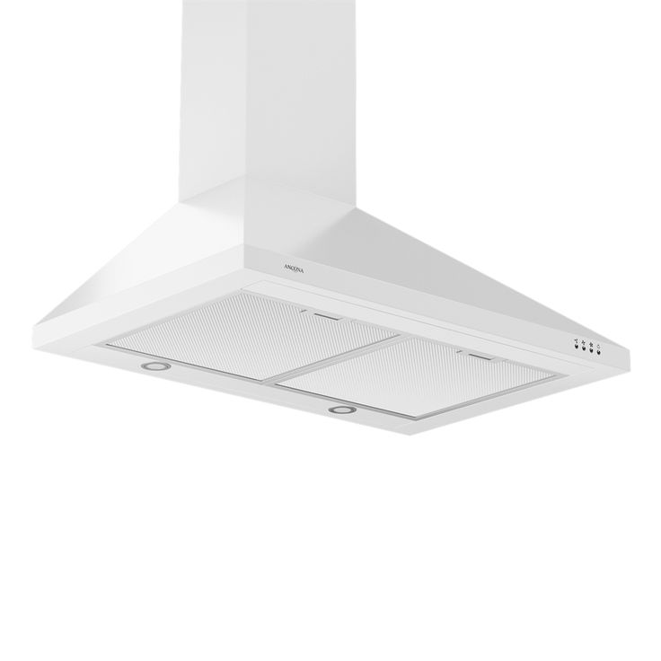 Possible white range hood option?   Ancona  AN-118 30-in Convertible Wall Mounted Pyramid Range Hood with LED lights at Lowe's Canada. $349