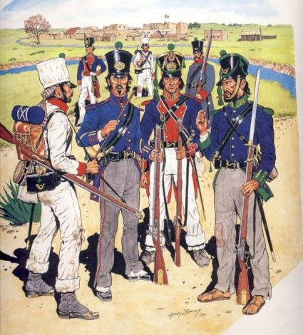 This Gary Zaboly plate of Mexican light company soldiers is a good illustration of how uniforms might vary in practice from the intended regulations. The rifleman on the right foreground, though missing his shoes, is likely the most representative of the regulation uniform. His comrades show variations in coats, trousers, and shakos.