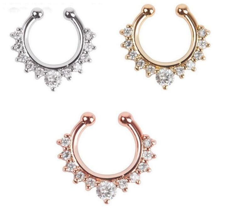 moda joyas Czech zirconia False septum Button Rings Surgical Steel luxury jewelry Navel Piercing Chirurgisch Septum Piercing