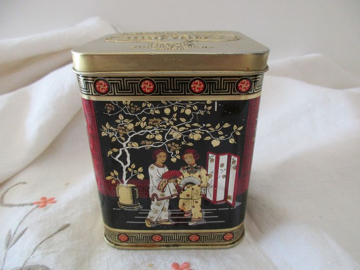 vintage DECORATIVE tea TIN with hinged lid - Murchie's, black, Chinese, Asian, made in England by JunqueDuJour on Etsy https://www.etsy.com/listing/292727349/vintage-decorative-tea-tin-with-hinged