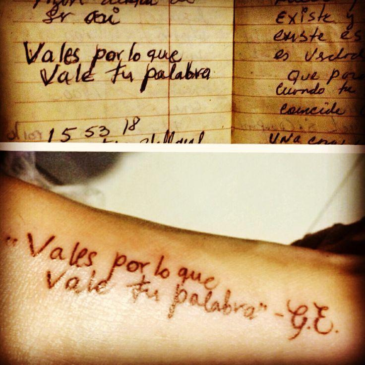 mi mamá dejo esta frase escrita en su agenda #tatuaje conmemorativo a 8 años de su muerte, (GabrielaElvira)... Tatuajes tattoo tatoos