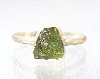 Phenakite RIng Natural Raw Crystal in Recycled by JimColony
