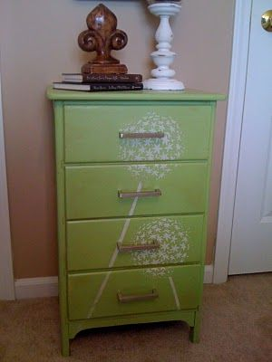 Refinished furniture using stencilsModern Furniture, Furniture Arrangement, Old Furniture, Diy Furniture, Cute Ideas, Dressers Redo, Girls Room, Painting Dressers, Chest Of Drawers