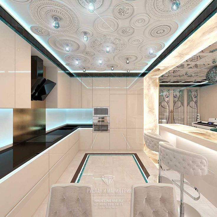 Дизайн интерьера светлой гостиной с кухней http://www.line-mg.ru/dizayn-kvartiry-zhk-dolina-setun