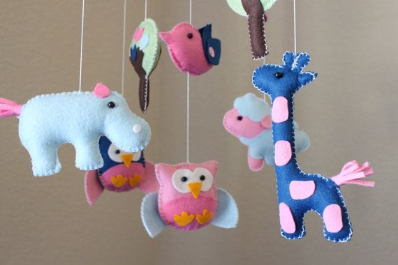 Baby Crib Mobile - Baby Mobile - Nursery Crib Mobile Baby Animals in the Day (You can pick your colors) Owl Bird Mobile