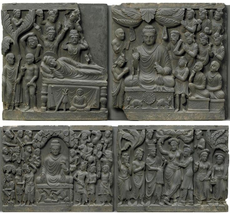 With the incorporation of the Buddha's human image into art, sculptors began to depict legends surrounding the Buddha. These legends and historical events were turned into a clear story line that usually centers on the main events in the Buddha's life, the Four Great Miracles, which were frequently depicted on relief panels such as this. Here we see his birth, enlightenment, sermon, and nirvana. http://www.asia.si.edu/collections/edan/object.cfm?q=fsg_F1949.9a-d F1949.9a-d #FSIntroToBuddhism