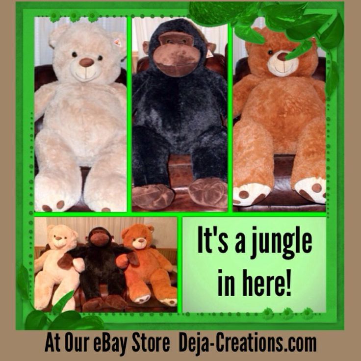 #Giant #Plush #Bear #Gorilla At #eBay http://Deja-Creations.com It's a jungle in here! #StuffedAnimal