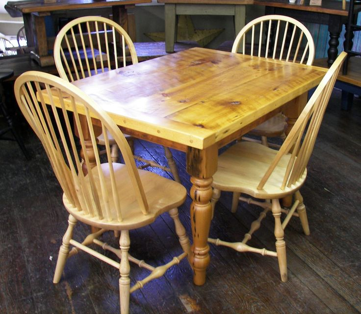white pine 48x36 farm table with turned legs - We use wood from dismantled  barns and