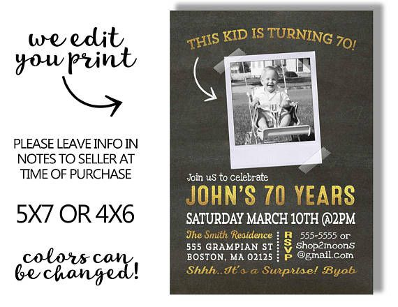 70th Birthday Invitation For Men With Photo