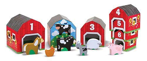 GRANEROS Y ANIMALES PARA CLASIFICAR Contiene 6 graneros de cartón numerados y 6 animales de madera igualmente con números. Haz concordar los graneros y los animales! Crea una escena de granja!. Una granja llena de animales para contar, ocultar y buscar hacer mezclas con el juego imaginativo, PVP: 23,30 € http://www.babycaprichos.com/graneros-y-animales-para-clasificar.html