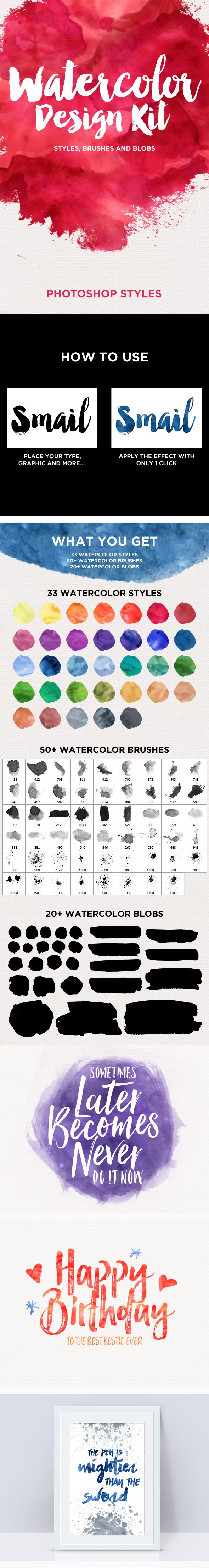 Poster design kit - Watercolor Design Kit Photoshop Styles