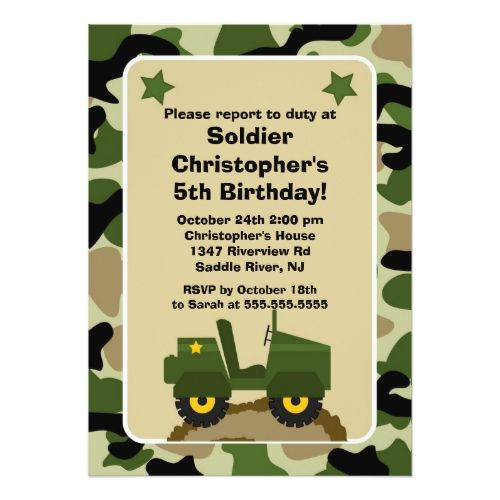 Kids Soldiers Camuflage Birthday Party Art Invitations