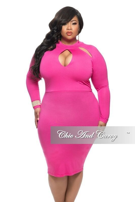 new plus size bodycon dress with top cutouts in hot pink | chic