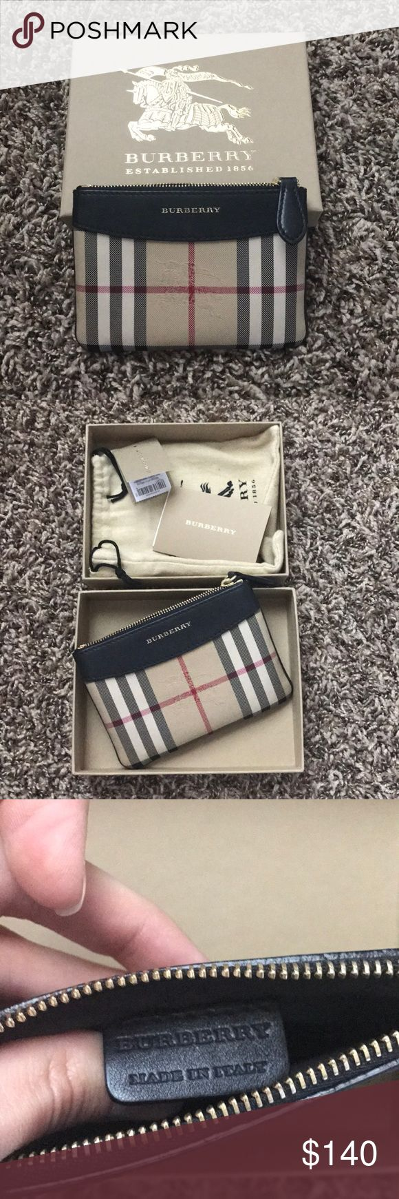 Burberry pouch Burberry coin purse/pouch. Authentic 💯 excellent condition. No stains, leather is perfect. Easily fits ID and cards. Excellent for small purses that don't fit a wallet (that's what I used it for and only used it twice). Reasonable offers accepted Burberry Bags Wallets