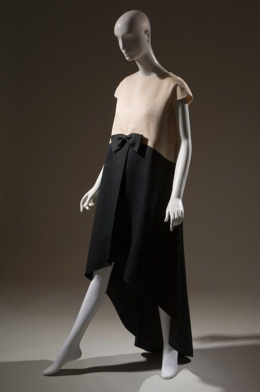 Cristobal Balenciaga Dress Black, white silk gazar 1968, France