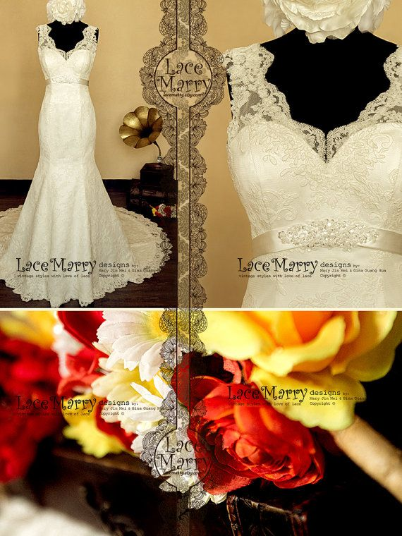 Gorgeous Lace Wedding Dress in Trumpet Style Silhouette, Features Scalloped Lace Straps and Satin Belt with Delicate Beading Brooch