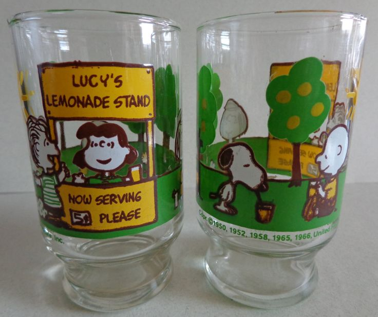 Vintage Peanuts Gang 2 juice glasses Lucy's Lemonade Stand United Feature Syndicate Green Yellow Snoopy, Linus & Charlie Brown 1966 by RocktheJewels on Etsy