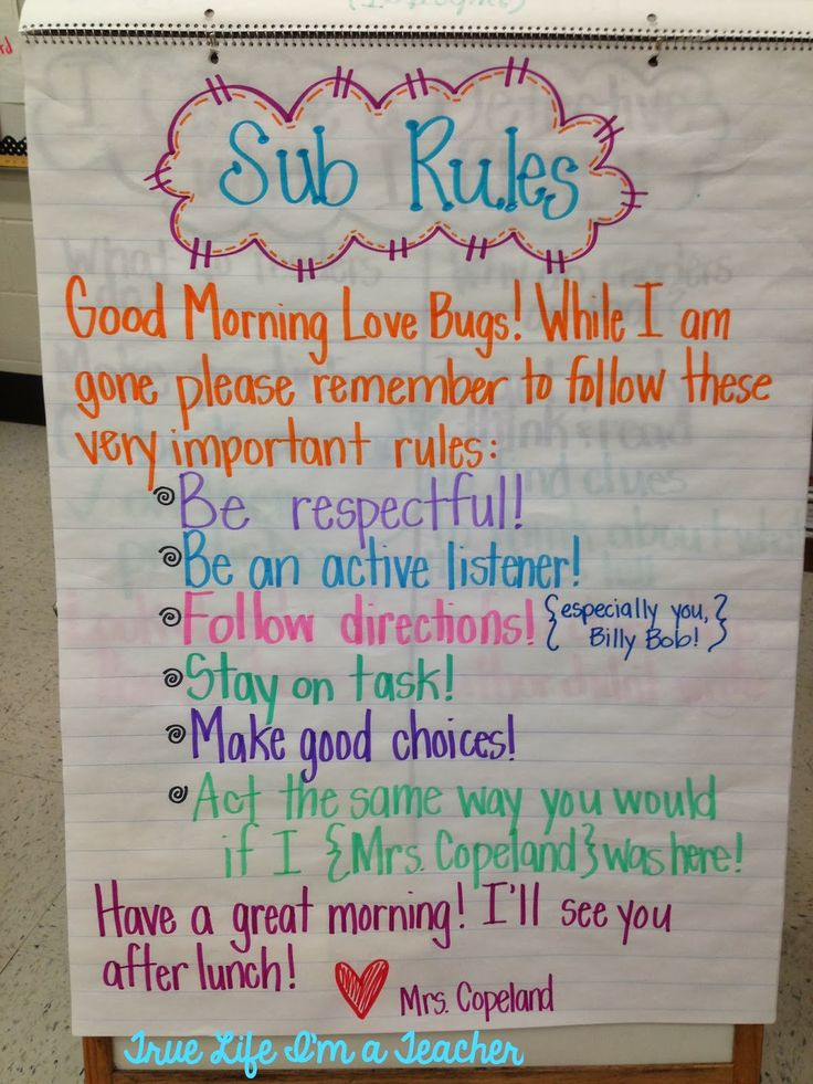 "Sub Rules Anchor Chart. Love the idea of leaving a ""love note"" to students with a friendly reminder of the class rules."