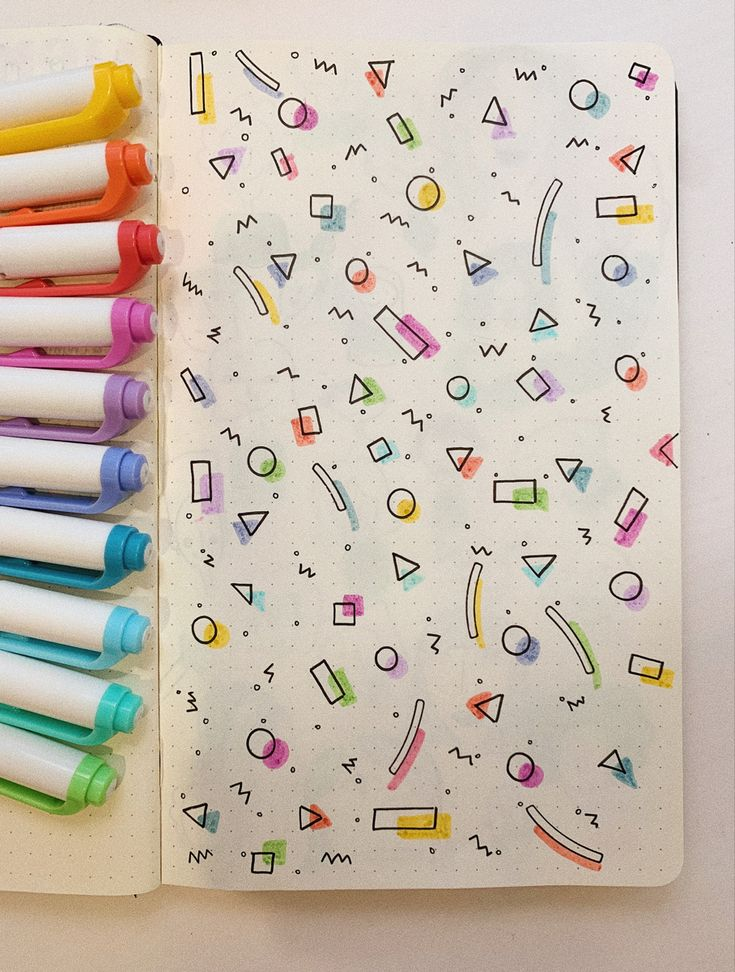 mildliner highlighters used to make a colorful and cute geometric design for a page in your bullet journal Bullet Journal Lettering Ideas, Bullet Journal Banner, Bullet Journal Notebook, Bullet Journal School, Bullet Journal Inspo, Bullet Journal Spread, Bullet Journal Ideas Pages, Book Journal, Bullet Journal Headings