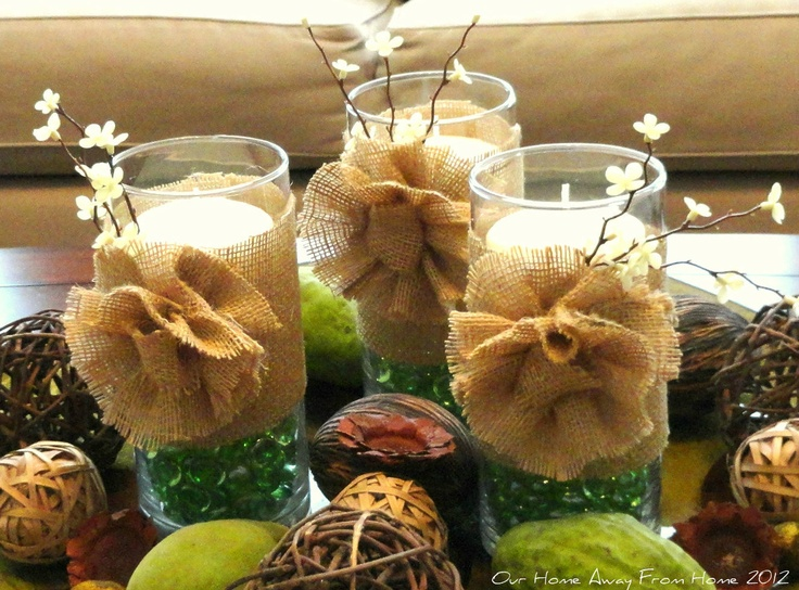 Our Home Away From Home: Hurricane Vases with Burlap Rosettes