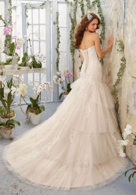 Soft Net Overlays Alencon Lace Appliques Tiered Morilee Bridal Wedding Dress | Style 5405 | Morilee