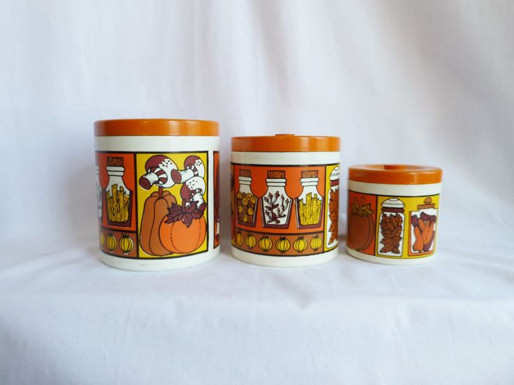 70s Kitchen Canister Set - Mushrooms Pumpkins - Orange Brown Yellow - Nesting Set of 3 - Japan - Vintage 1970s by WhirligigEmporium on Etsy https://www.etsy.com/au/listing/398457659/70s-kitchen-canister-set-mushrooms