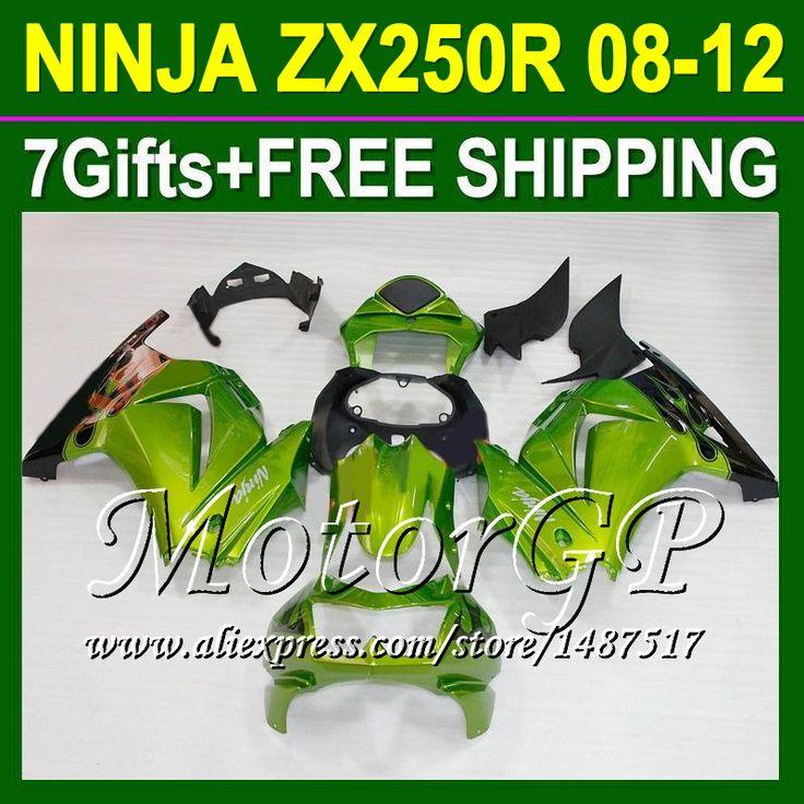 Купить товар7 подарки + ZX250R зеленый для 2008 2009 2010 Kawasaki ниндзя ZX250 зеленый blk 16 # 97 ниндзя 250r ZX 250 08 09 10 11 12 зализа в категории Щитки и художественная формовкана AliExpress.