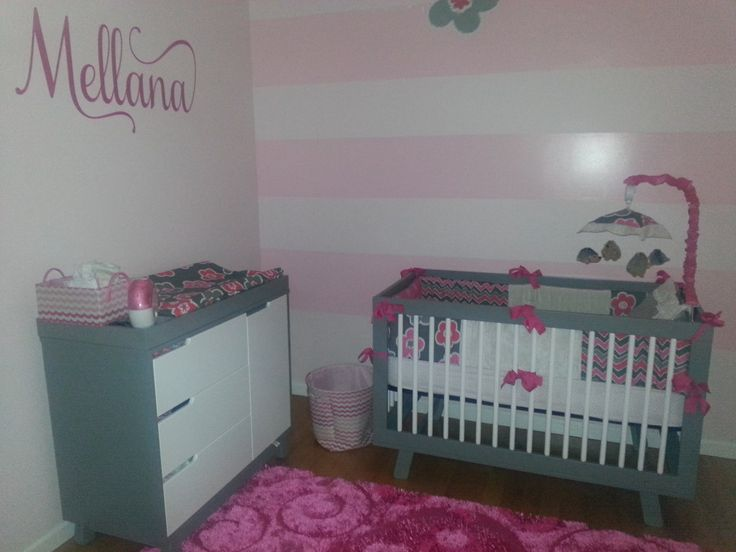 Mellana's Nursery with Babyletto Hudson 3-in-1 Convertible Crib + Changer Dresser in White + Grey #pink #stripes #grey