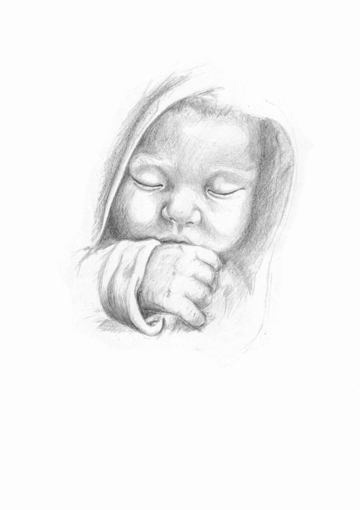 Baby Sleeping Sketch by Martin-Lyne | Baby face drawing ...