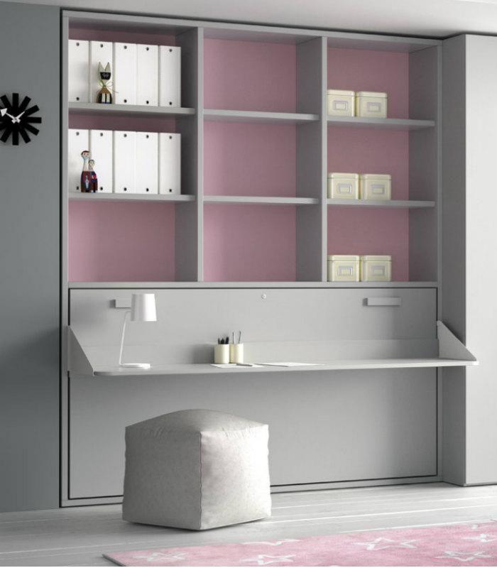 Encuentra la solución para tus problemas de espacio. Ambiente juvenil con cama abatible con escritorio y estantería. Gran diseño y calidad.
