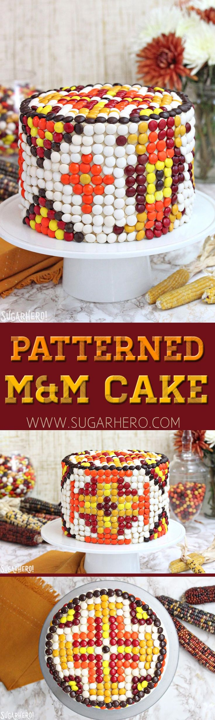 Patterned M M Cake -this gorgeous cake is decorated just with M M candies!    From 791c1d00b432