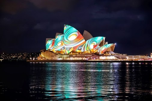 Lighting of the sails at the Sydney Opera House.