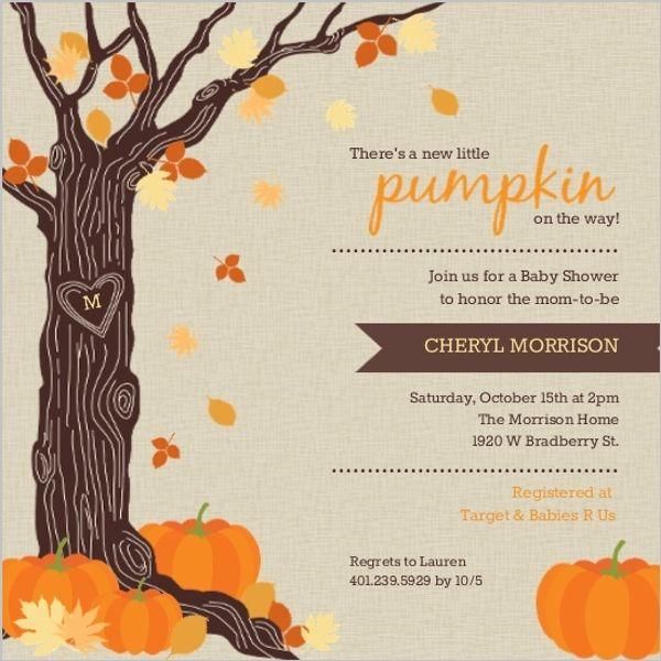 Rustic Tree Leaves And Pumpkin Halloween Baby Shower Invitation By  PurpleTrail.com. #fallbabyshowerinvitations