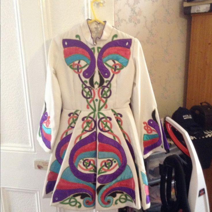 Gorgeous White Celtic Art Irish Dance Dress Solo Costume For Sale
