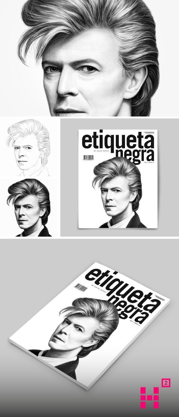 #Ilustración de #DavidBowie, para la #portada de la edición N. 131 de la #revista Etiqueta Negra.