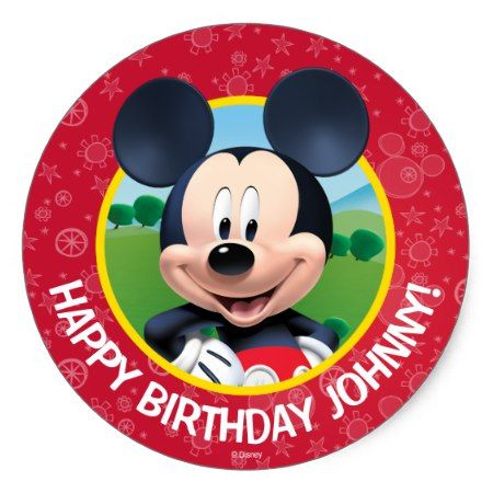 Mickey Mouse Birthday Classic Round Sticker - tap to personalize and get yours