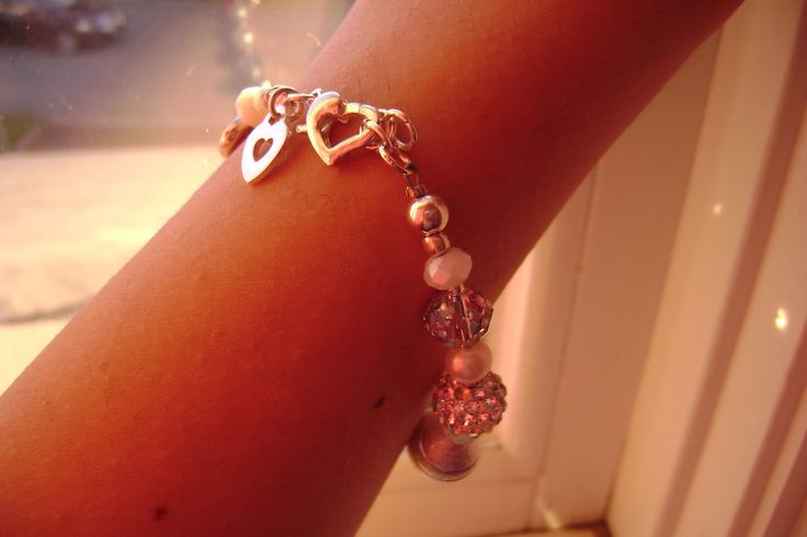 Handmade charm bracelet, with Czech crystal & sterling silver. www.tiffydesigns.com #wedding #bridal #bracelet #jewelry #Swarovski #heart #sterling silver