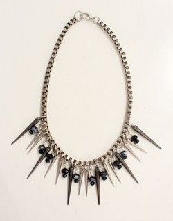 Silver chain Necklace with black beads and silver spikes!