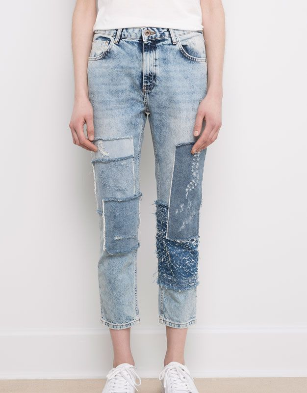 GIRLFRIEND PATCHED JEANS - DENIM COLLECTION - DENIM - PULL&BEAR Malaysia