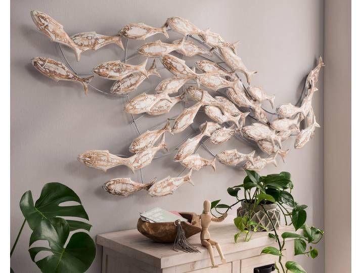 Die Faktorei Deko Wandobjekt Fischschwarm Aus Albesia Holz In 2020