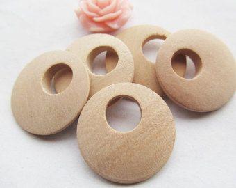 25mm onbehandeld Roundure cirkel Ring groot gat natuurlijke hout Earring hanger bedel vinden, DIY accessoire bijouterie maken