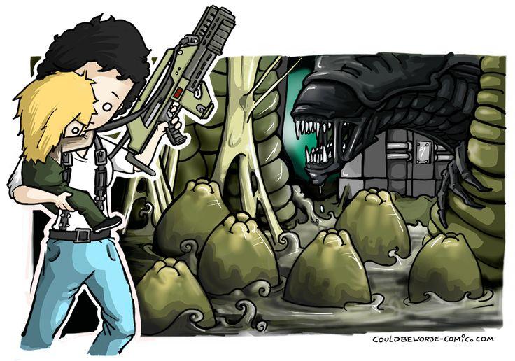Ellen Ripley saving Newt, The Xenomorph Queen isn't happy. (Aliens) Couldbeworse-comic.com