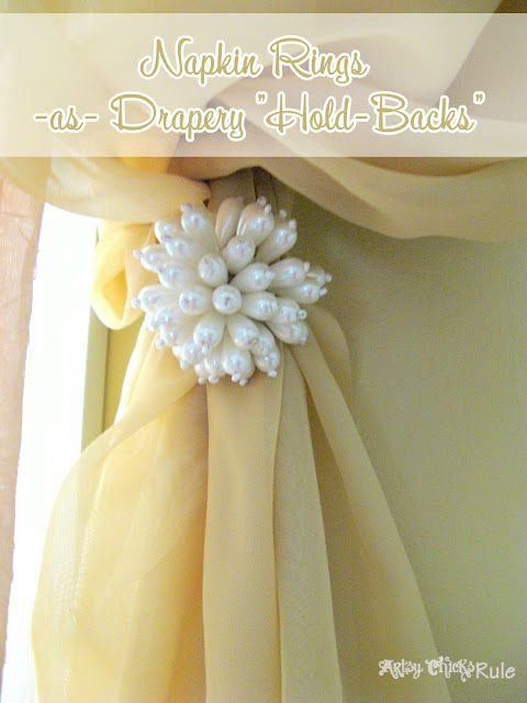 "Cool Use for Napkin Rings-Drapery ""Hold-Backs"" - Inexpensive way to add some bling!"