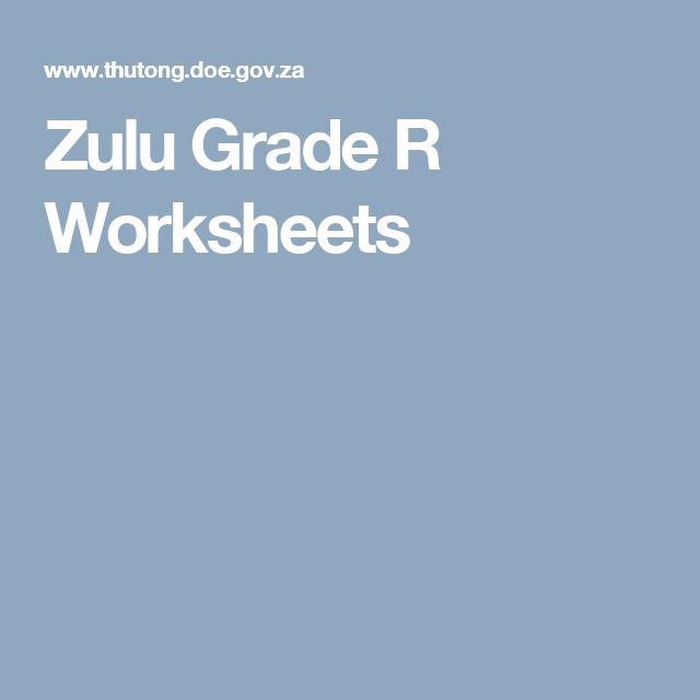 Zulu Grade R Worksheets