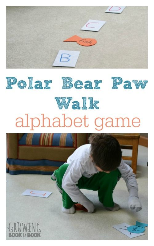 """Alphabet Game, """"Polar Bear Paw Walk"""" (from Growing Book by Book)"""