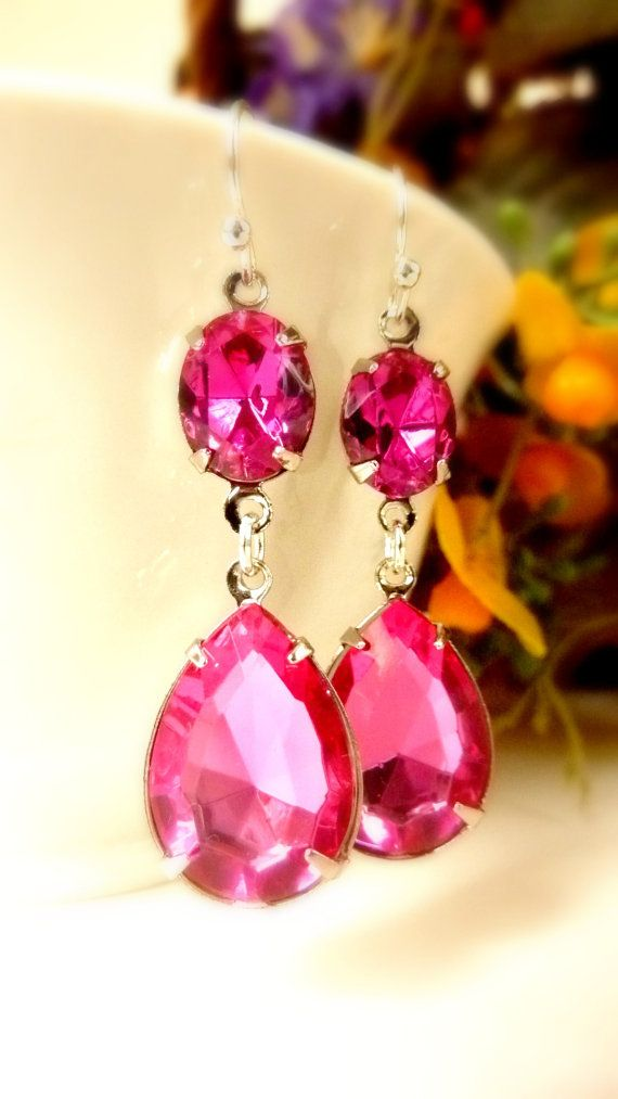 Fuchsia Hot Pink Earrings Teardrop Drop October by Dewdropsdreams, $26.00 https://www.etsy.com/listing/125108605/fuchsia-hot-pink-earrings-teardrop-drop