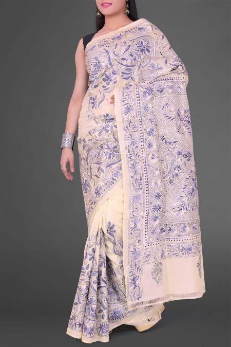 Beige Kantha Tussar Silk Saree